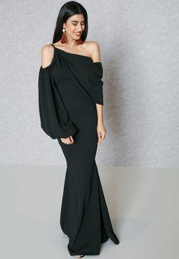 Puffed Sleeve One Shoulder Dress