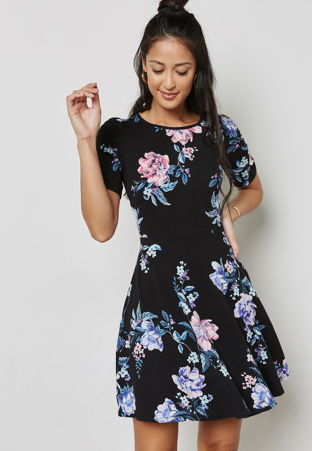 Floral Print Ruched Sleeve Skater Dress