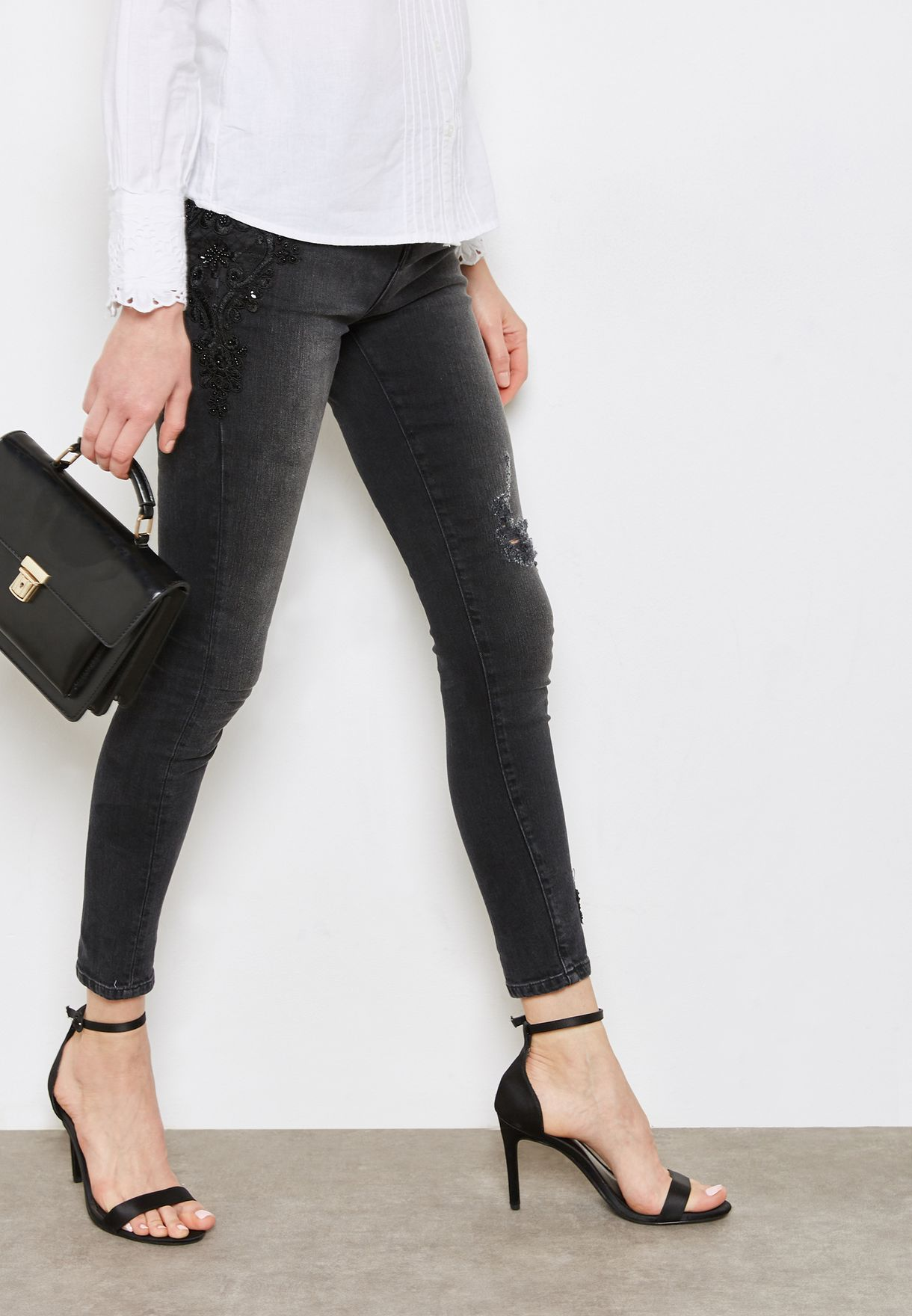 075d377fa6c8 Shop Dorothy Perkins grey Darcy Mid Rise Ankle Grazer Skinny Jeans ...