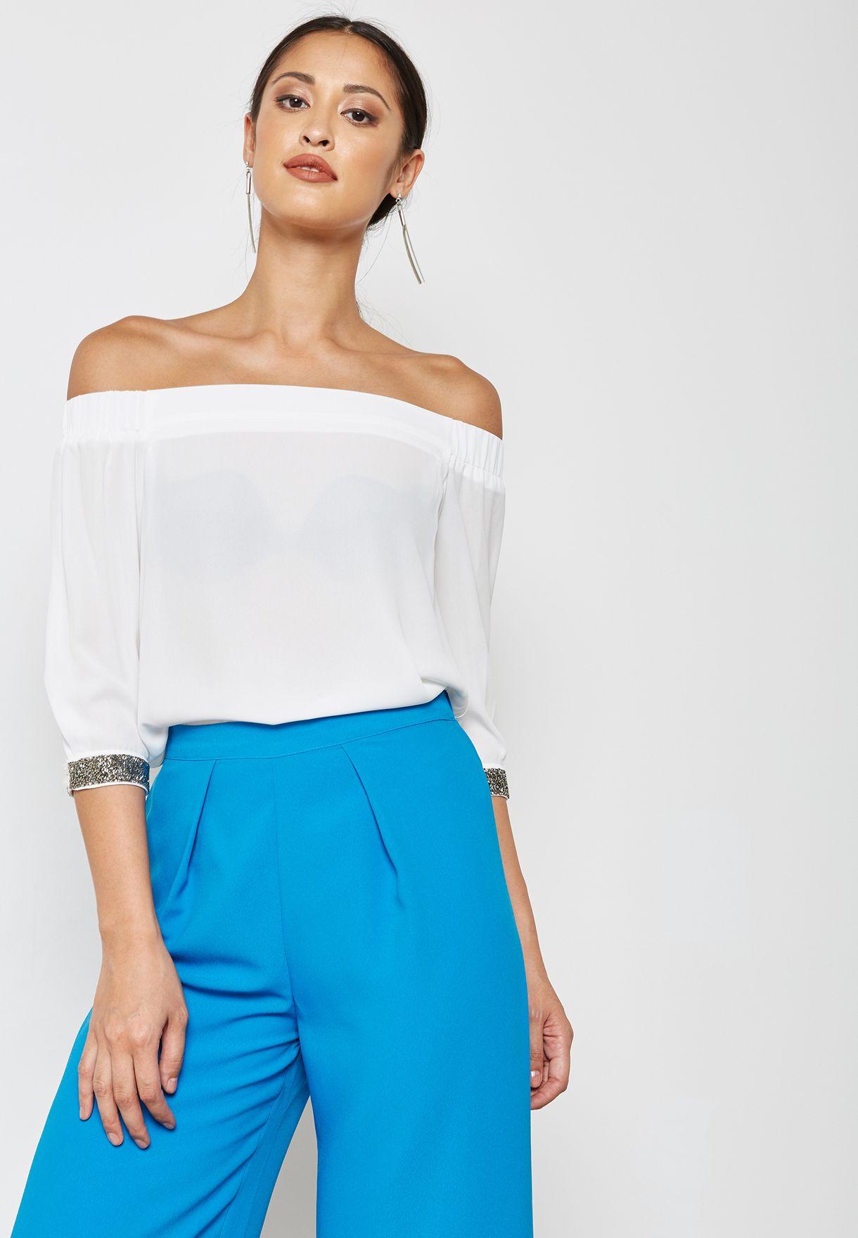 Embellished Cuff Bardot Top