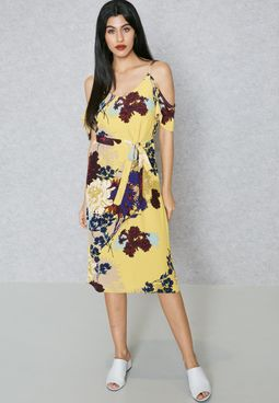 Waist Tie Cold Shoulder Printed Dress