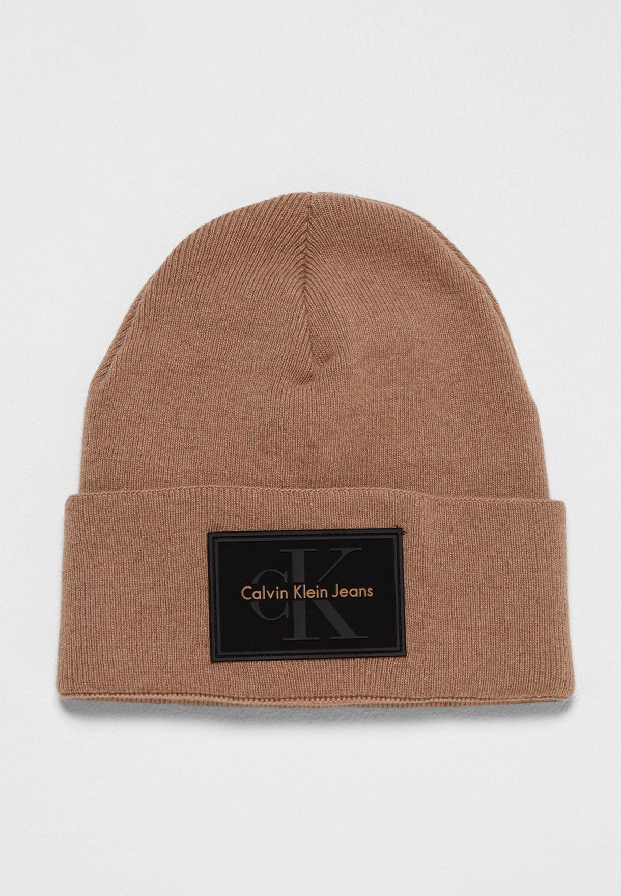 368f7abb46e Shop Calvin Klein Jeans browns Re-Issue Beanie K50K503426229 for Men ...