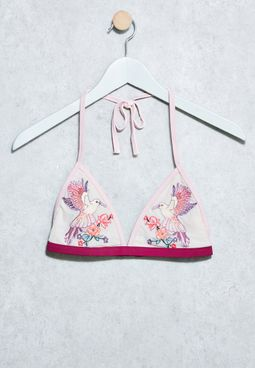 Embroidered Bird Bikini Top