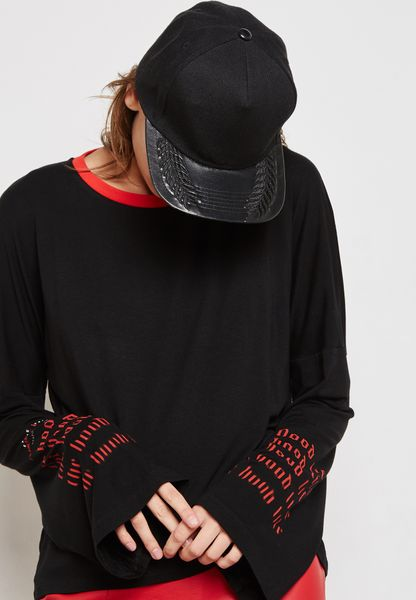 Slogan Sleeve Contrast T-Shirt