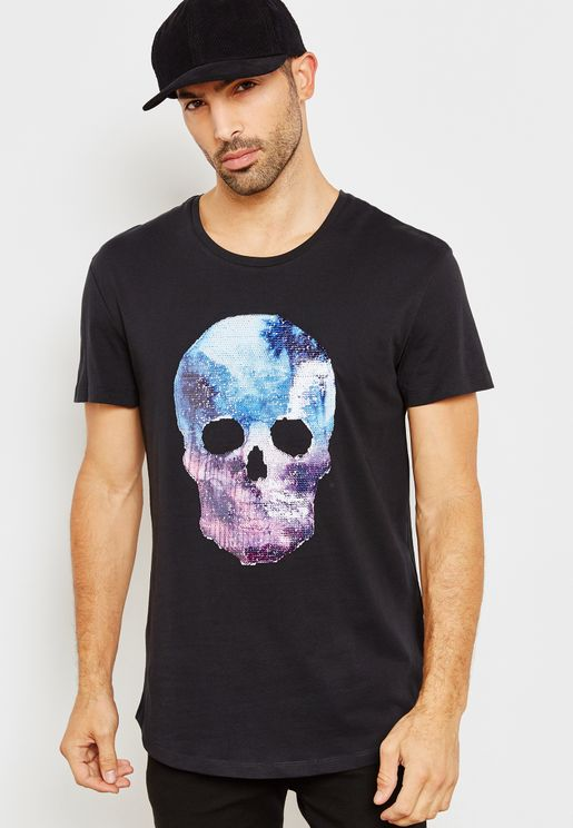 Skull Face Crew Neck T-Shirt