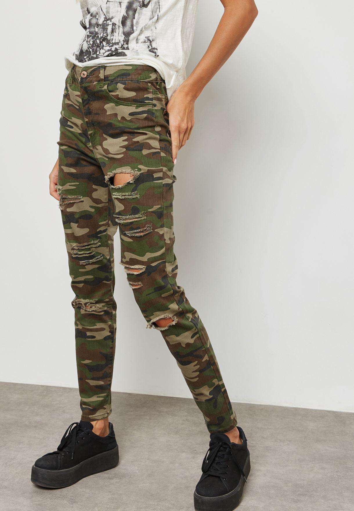 28fea5d97d6d5 Shop Forever 21 prints Knee Slit Camo Pants 251382 for Women in ...