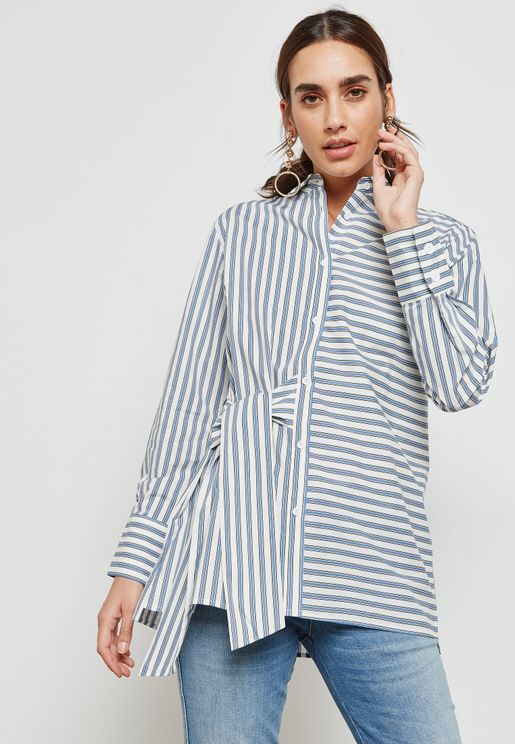 Side Tie Striped Shirt
