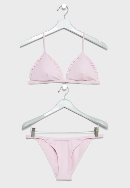 Triangle Ruffle Detail Bikini Set