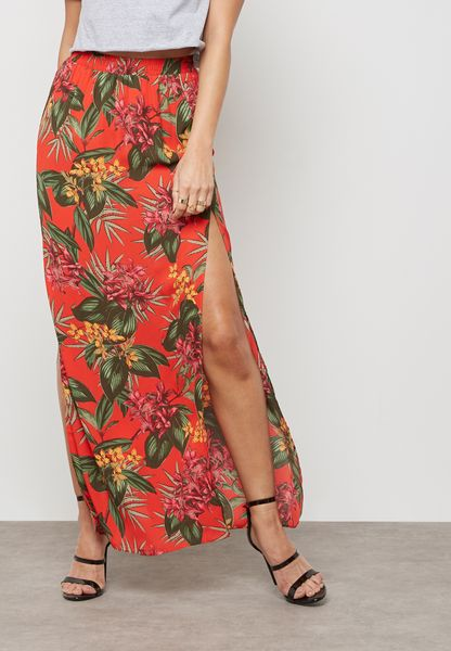 Split Maxi Skirt Tropical