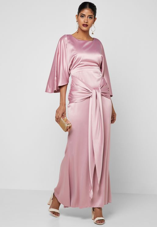 Tie Front Satin Maxi Dress