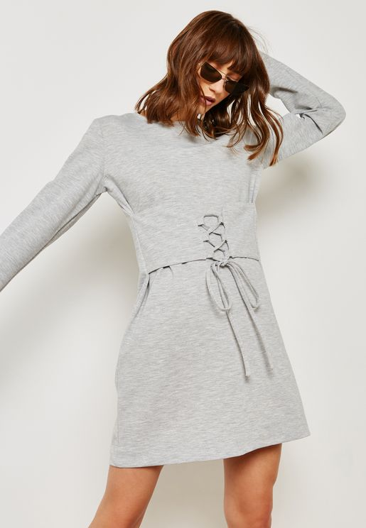 Croset Detail Long Sleeve T-Shirt Dress