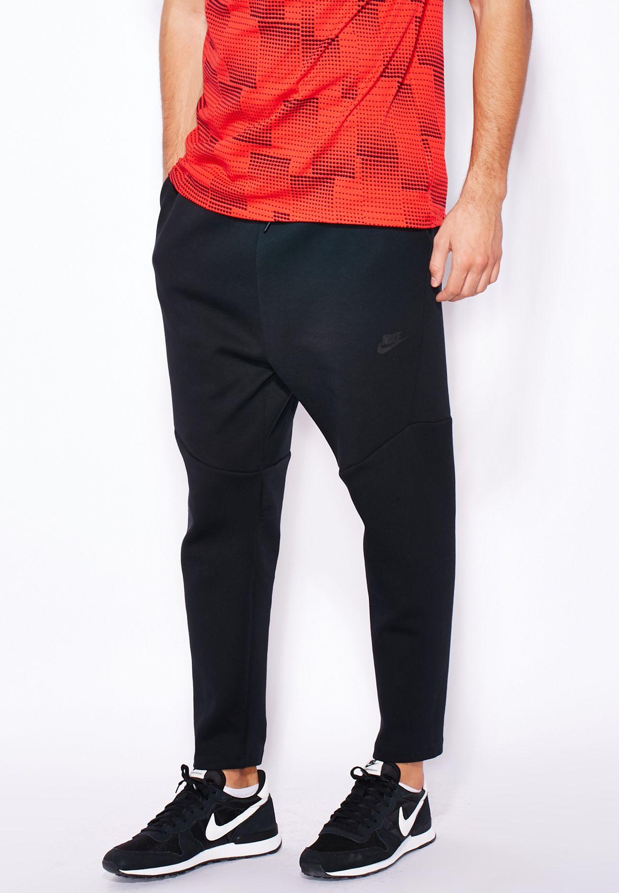 NIKE TECH FLEECE CROPPED PANTS SZ XL TRIPLE BLACK 727355 010