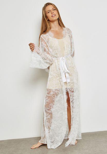 Lace Tie Waist Robe