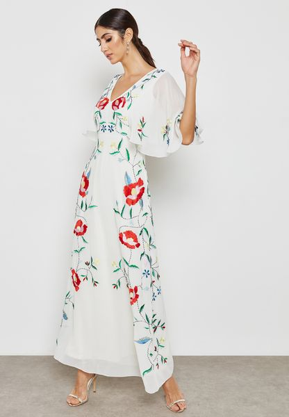 Flute Sleeve Maxi Dress