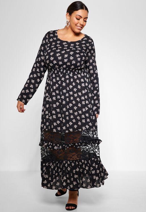 Printed Lace Insert Midi Dress