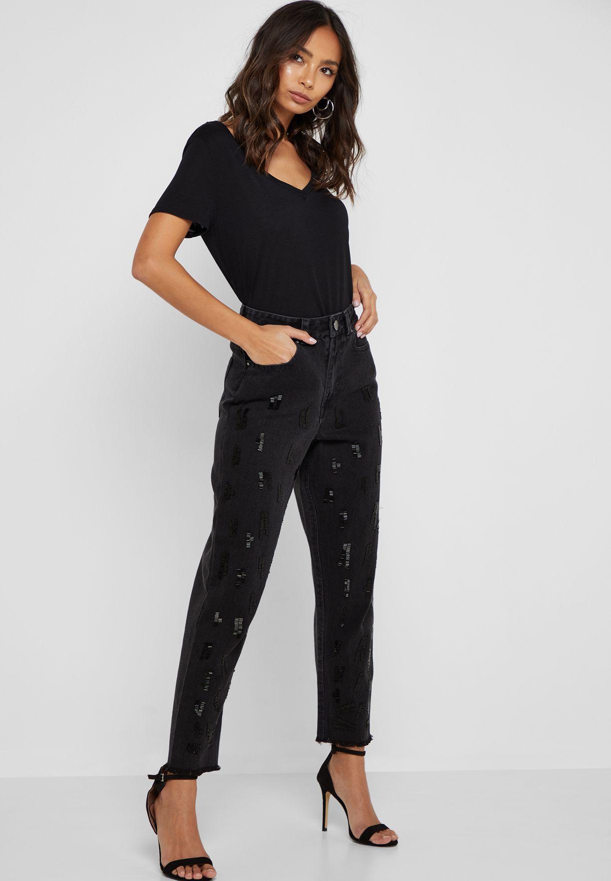 جينز الامهات مزين بالخرز