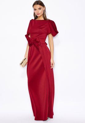 Threadz Puff Sleeve Bow Belted Dress