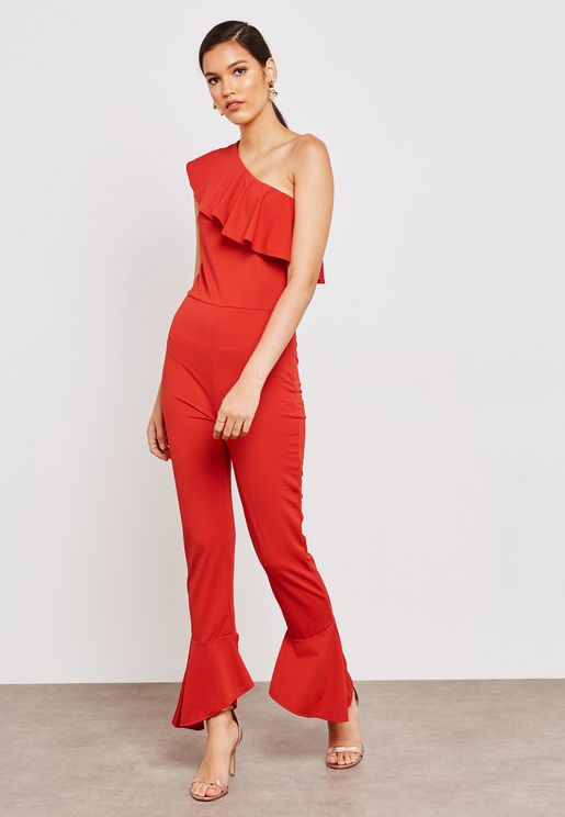 Ruffle Trim One Shoulder Jumpsuit