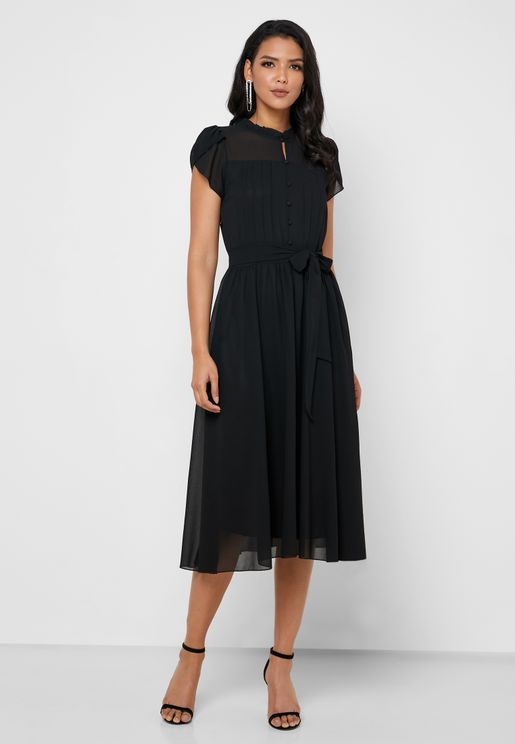 Ruffle Pleated Self Tie Dress