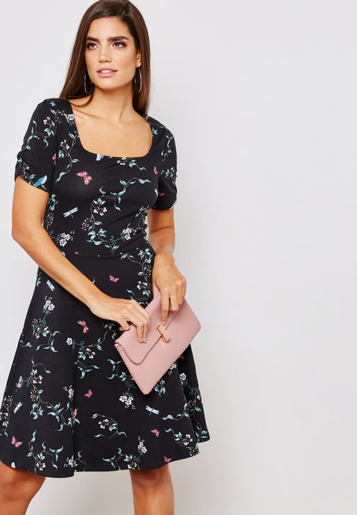 Square Neck Floral Print Skater Dress