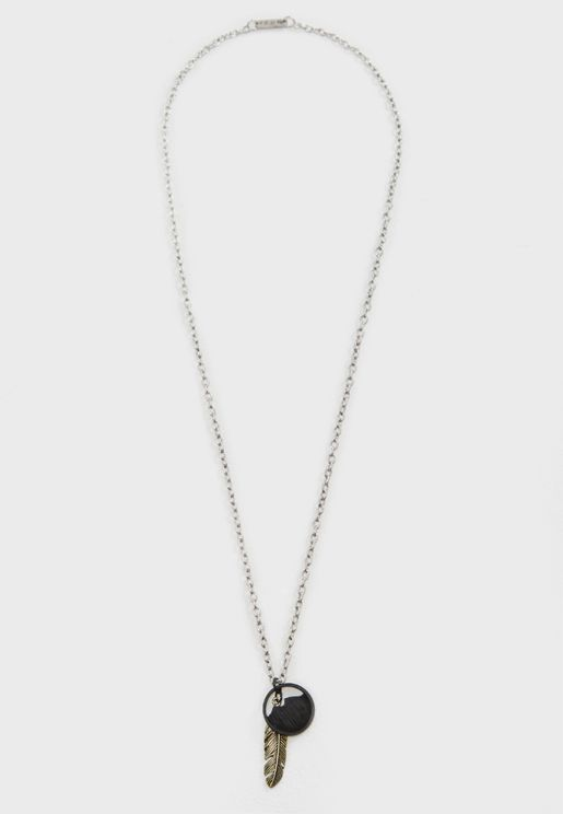 Summit Feather And  Token Pendant Necklace