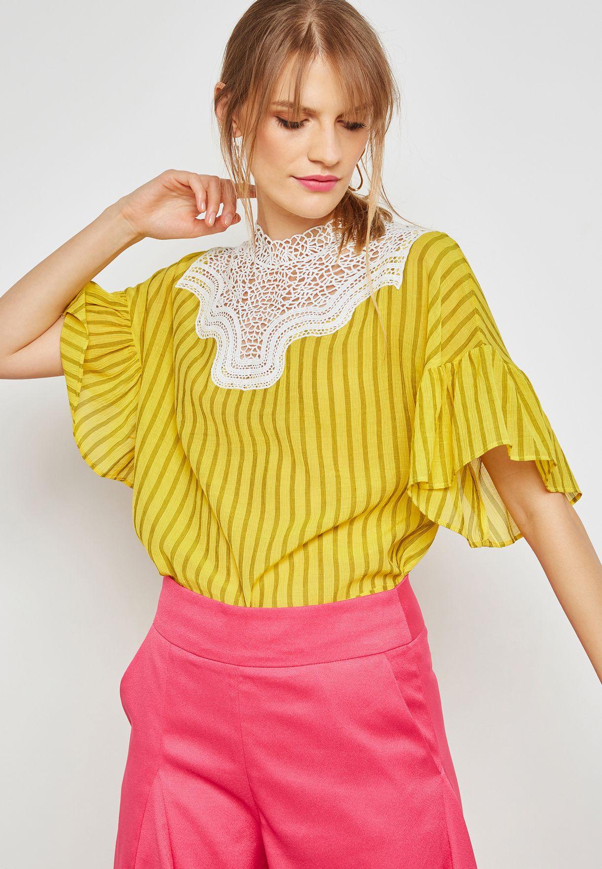 da373da6a4f Shop bYSI multicolor Crochet Bib Stripe Blouse ZBL370121 for Women in Qatar  - BY649AT12XVV