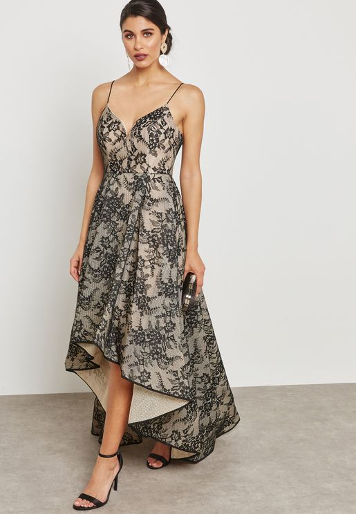 High Low Floral Lace Dress