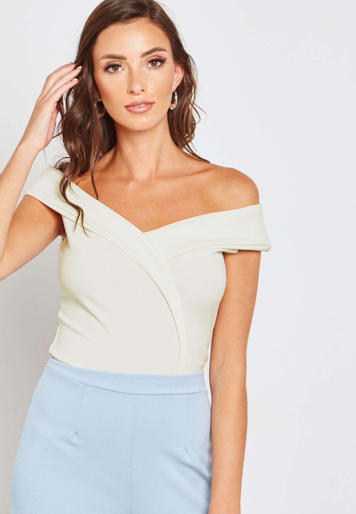 bef5ae17ffdc Shop Missguided white Crepe Wrap Over Bardot Bodysuit WSTJC13149 for ...