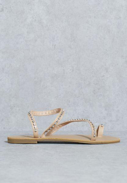 Embellished Asymmetrical Sandals