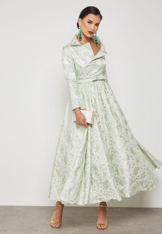 Asymmetric Collar Jacquard Dress