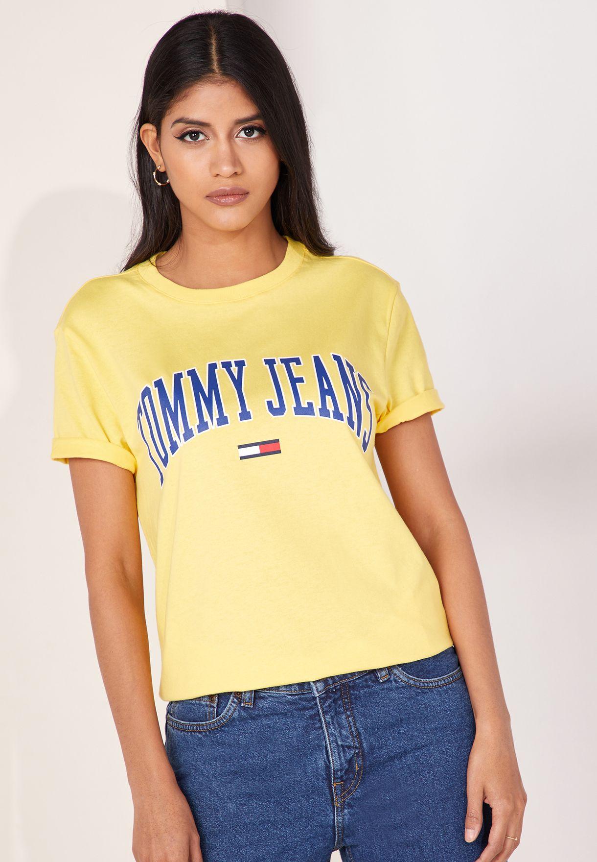 ba09226f Shop Tommy Jeans yellow Logo T-Shirt DW0DW05703 for Women in UAE ...