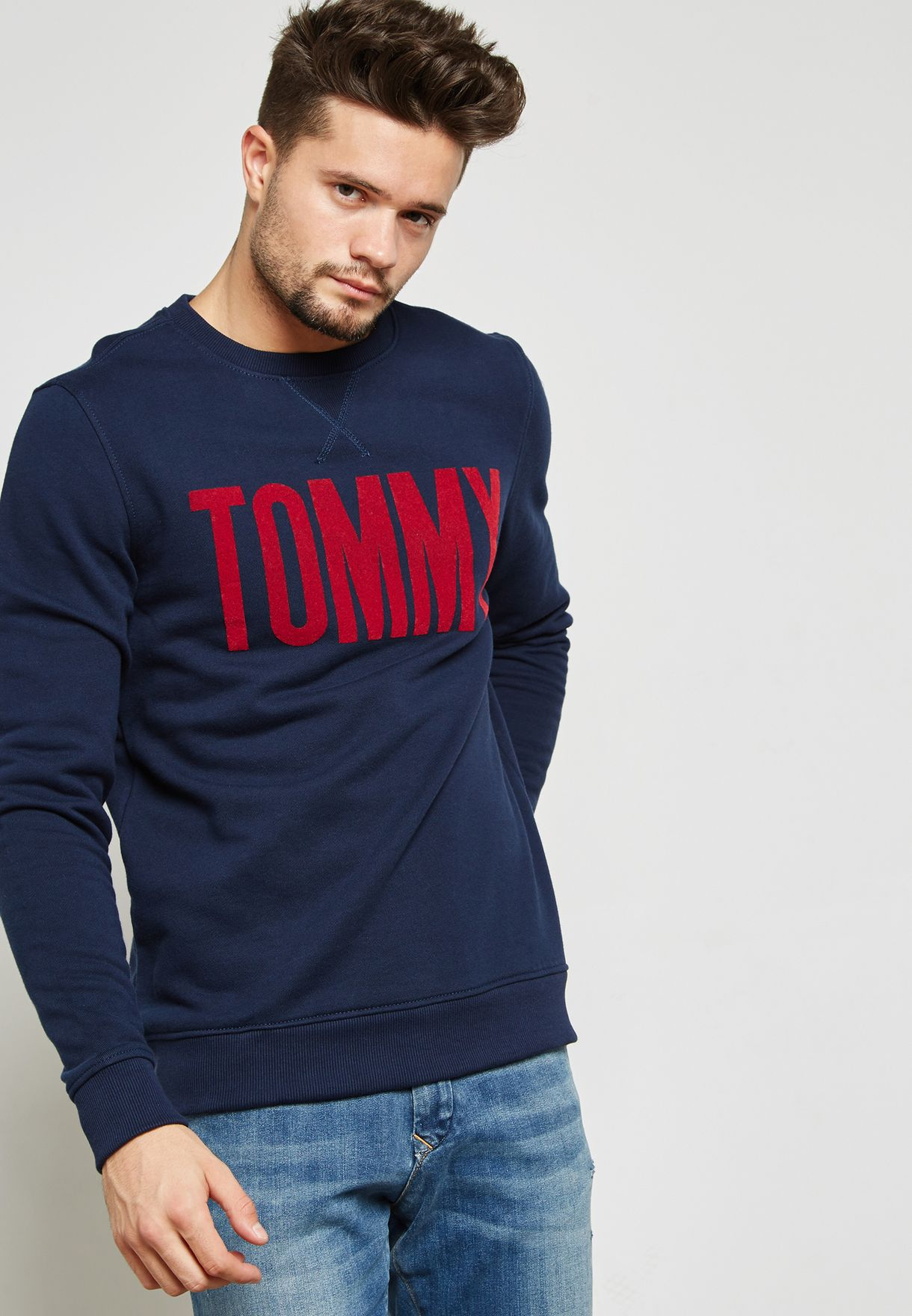 fe53af141c6 Shop Tommy Jeans navy Basic Logo Sweatshirt DM0DM02758002 for Men in ...