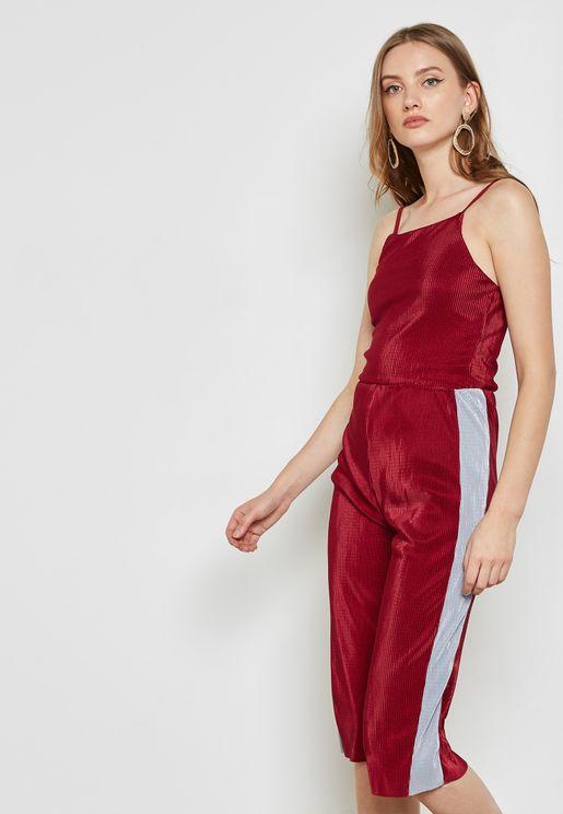 Plisse Side Paneled Culotte Jumpsuit