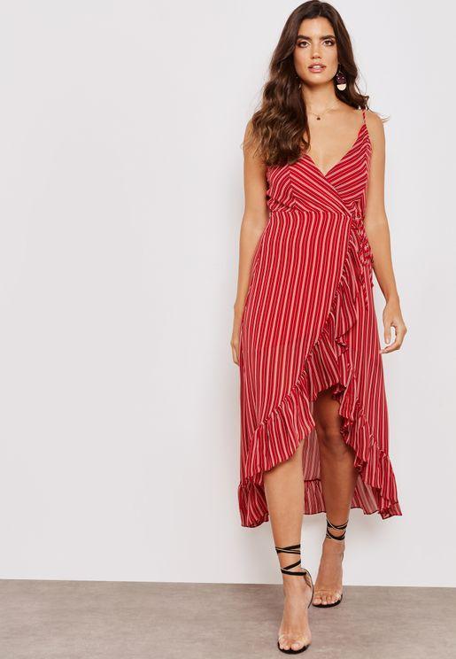 Striped High Low Wrap Frill Midi Dress