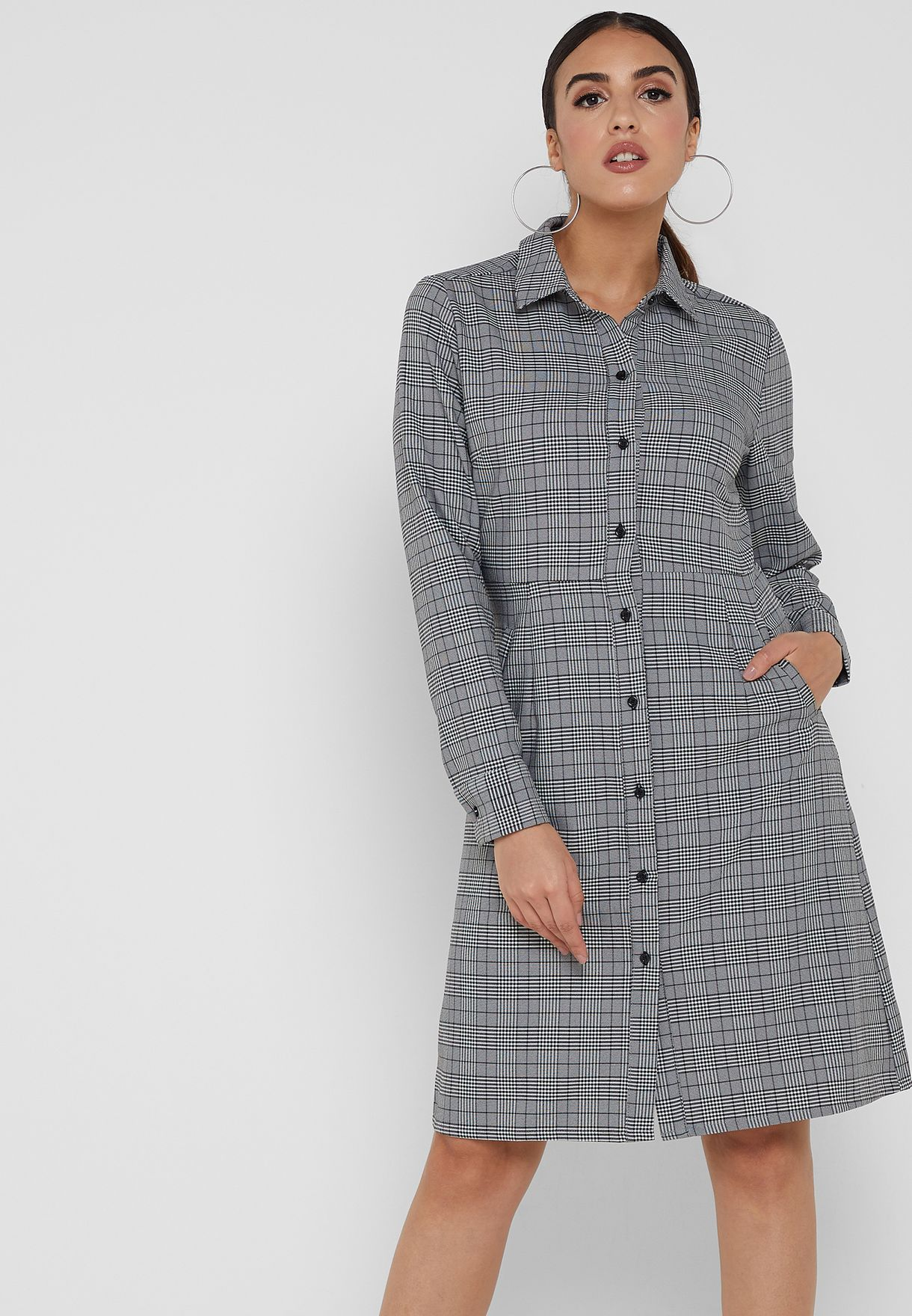 Checked Shirt Midi Dress