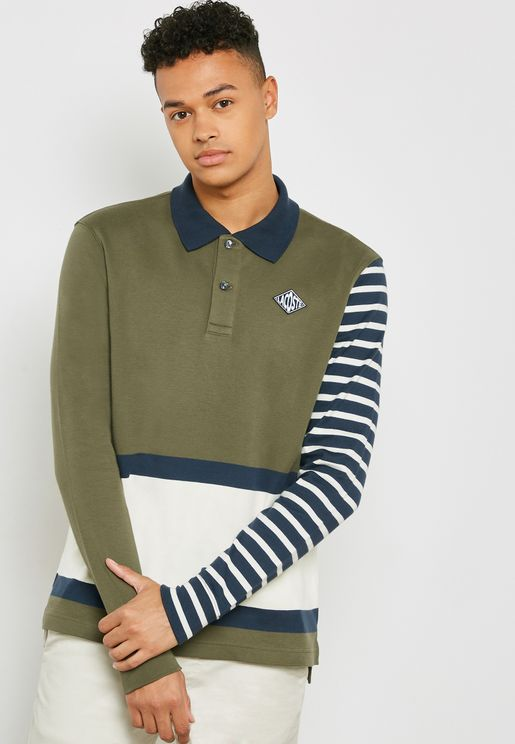 Striped Sleeve Ribbed Collar Polo