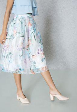 Tropical Print Organza Skirt