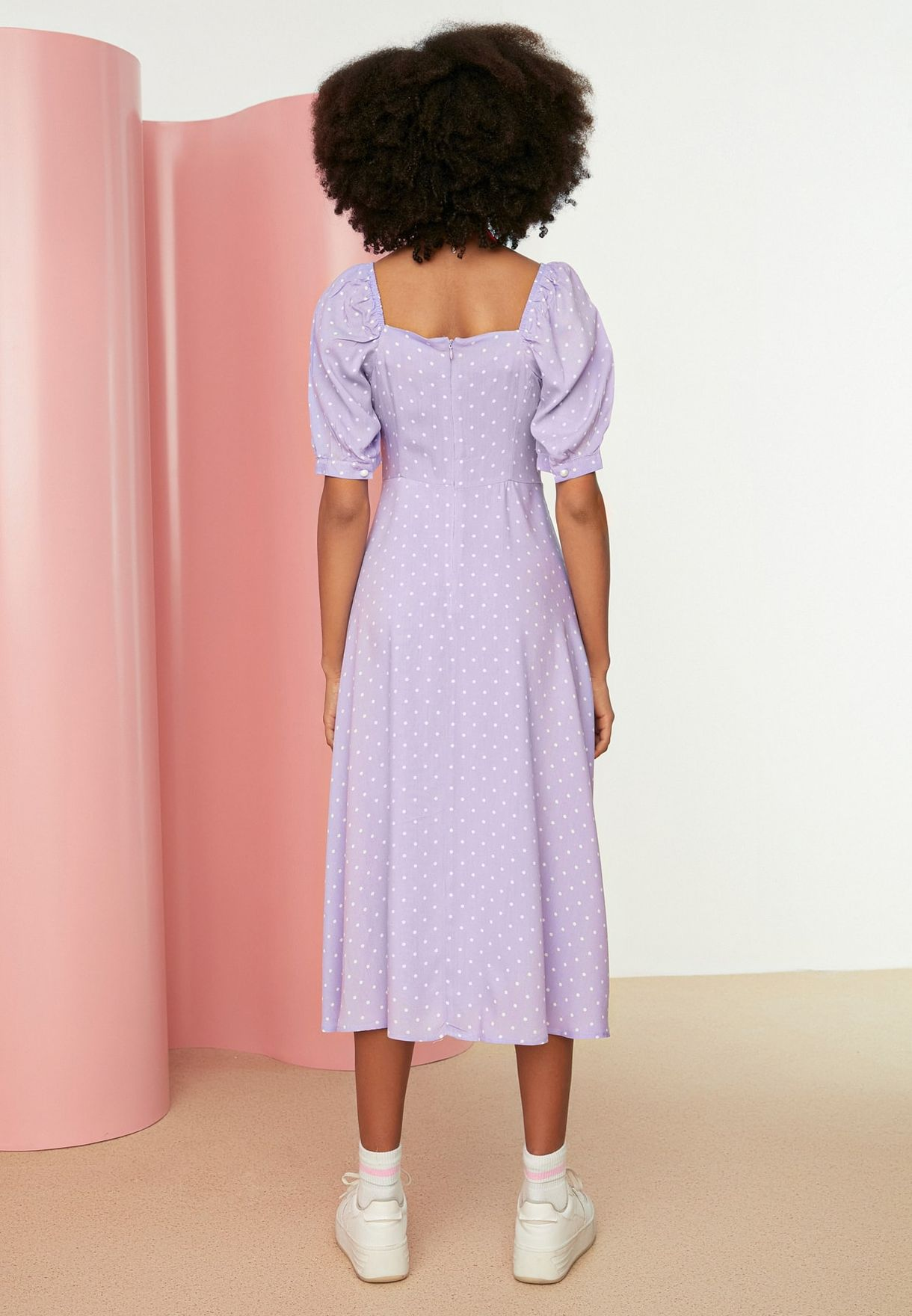 Puff Sleeve Polka Dot Dress