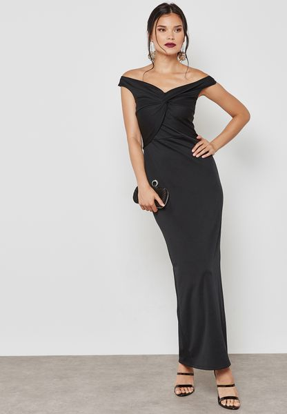 Front Ruched Bardot Dress
