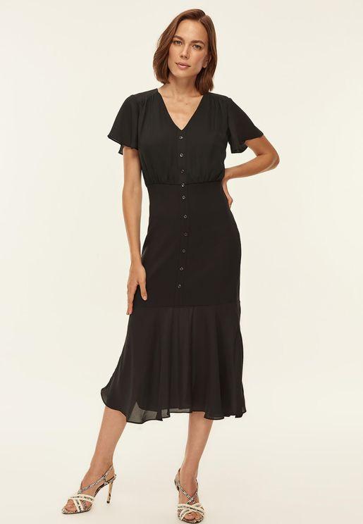 Button Through Pephem Dress