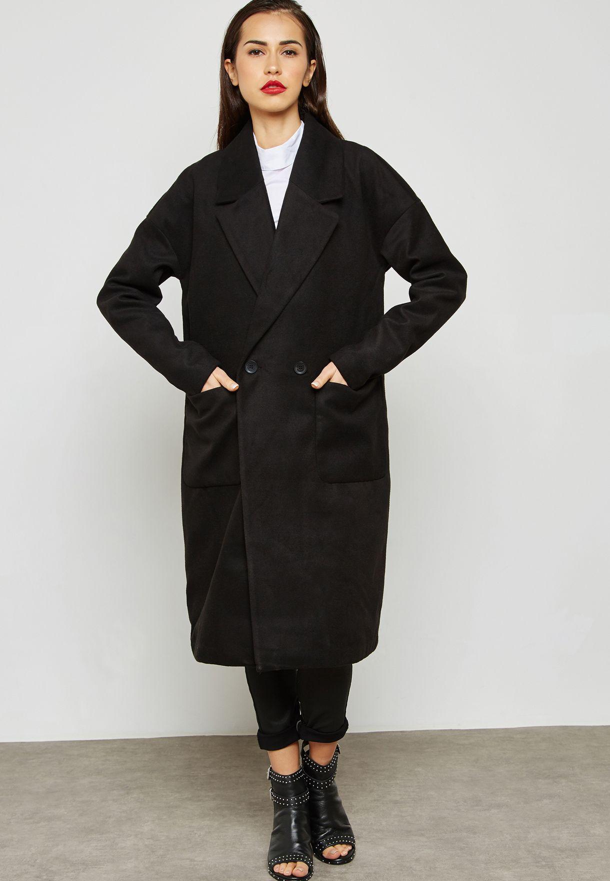 a4bc20ecb30 Shop Jacqueline De Yong black Longline Coat 15140435 for Women in Saudi -  JA609AT02JIN