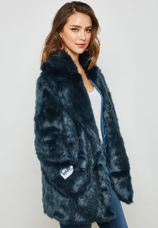 Faux Fur Hooded Trench Coat