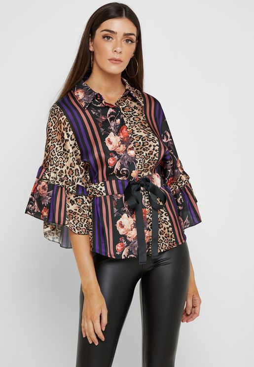 Mixed Print Drawstring Waist Shirt