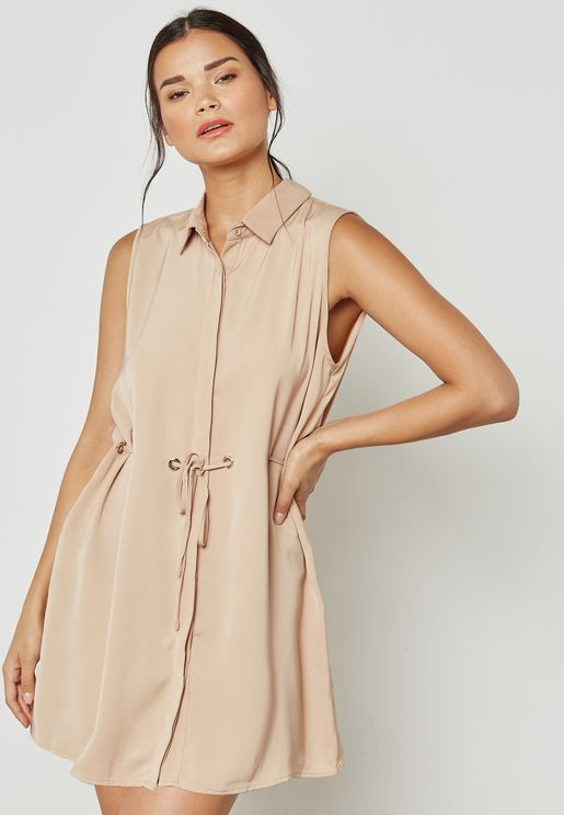 Eyelet Detail Waist Shirt Dress