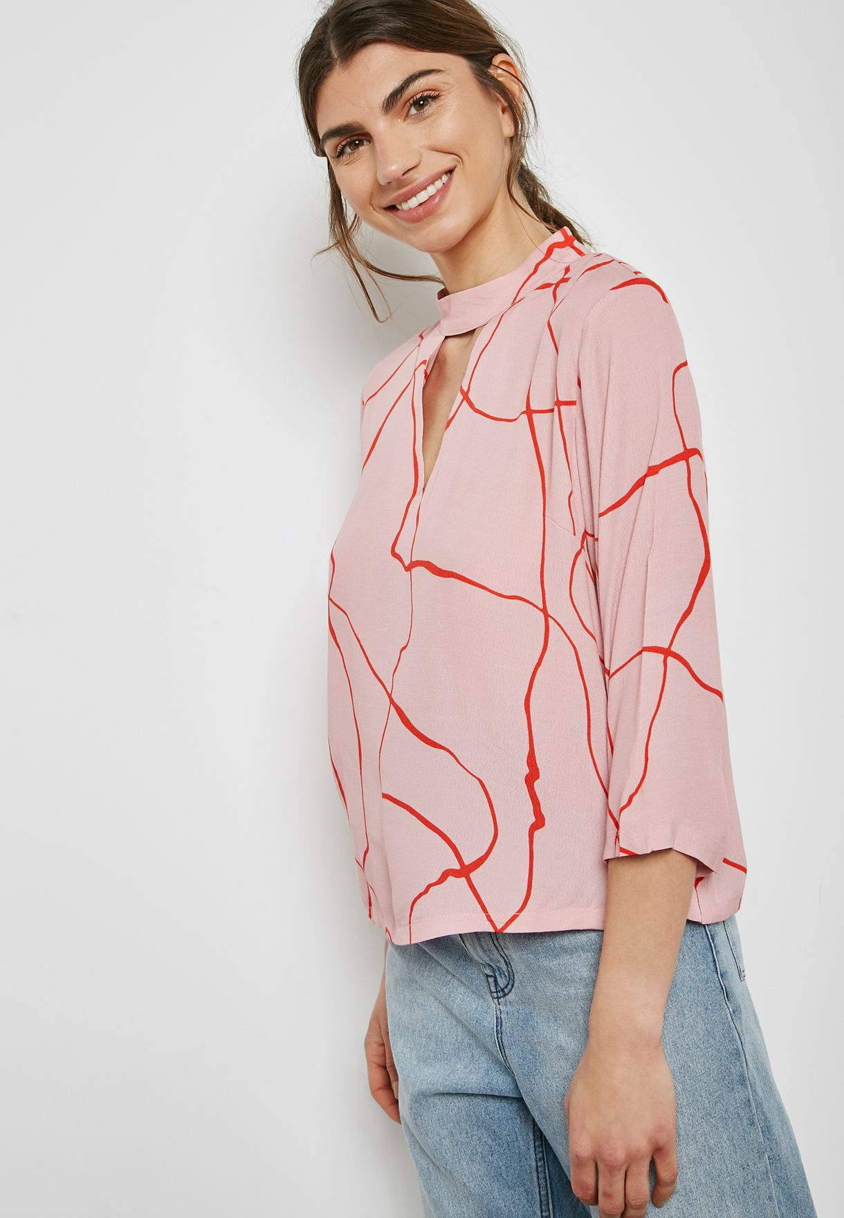 Choker Neck Printed Top