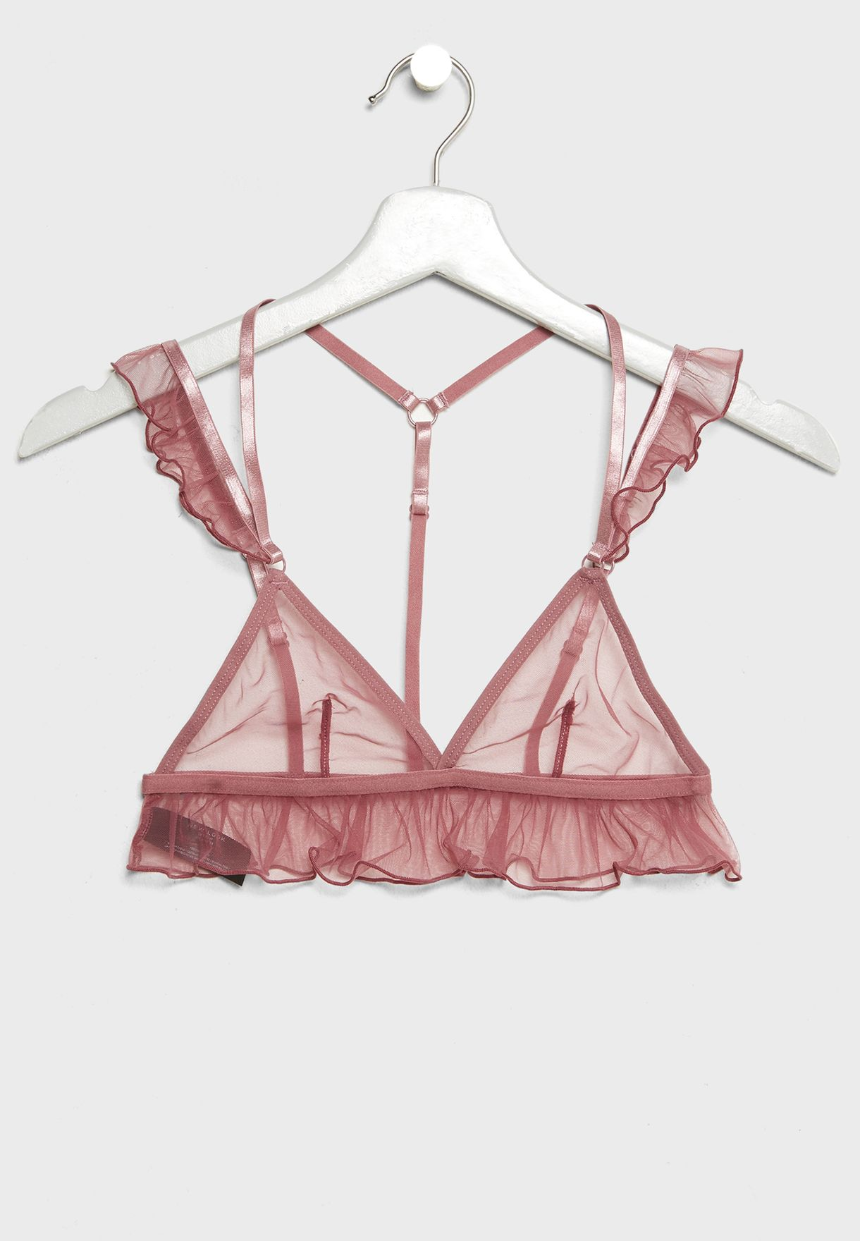 Mesh Frill Detail Breif and Bra Set