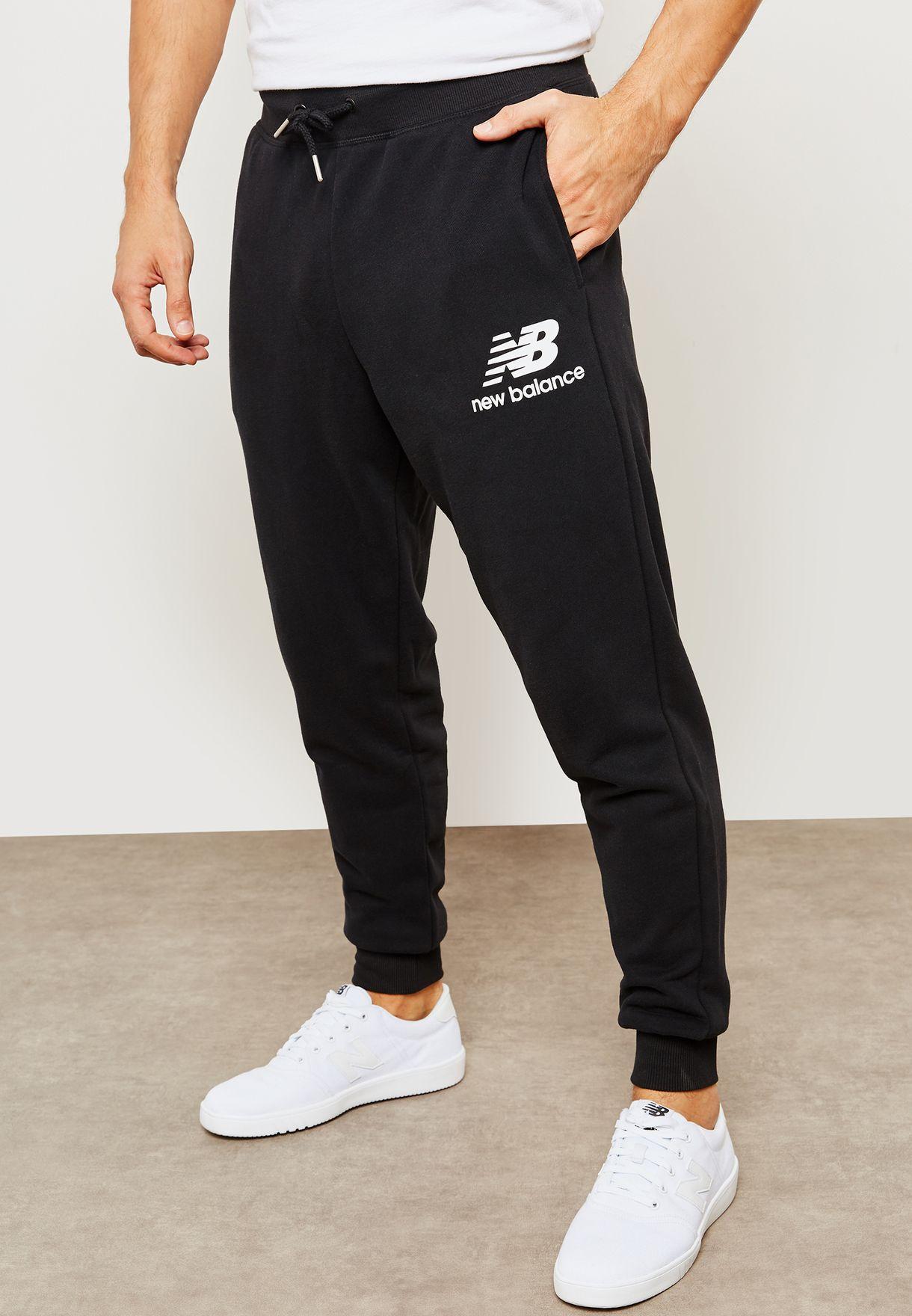 bfcb58f801 Shop New Balance black Essential Stacked Logo Sweatpants MP83591BK ...