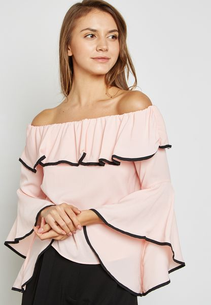 Contrast Piping Ruffle Bardot Top