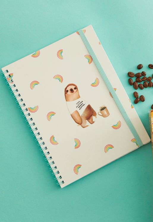 A5 Slothy Needs Coffee Notebook