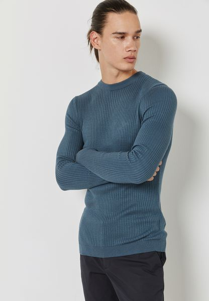 Muscle Fit Ribbed  Sweatshirt